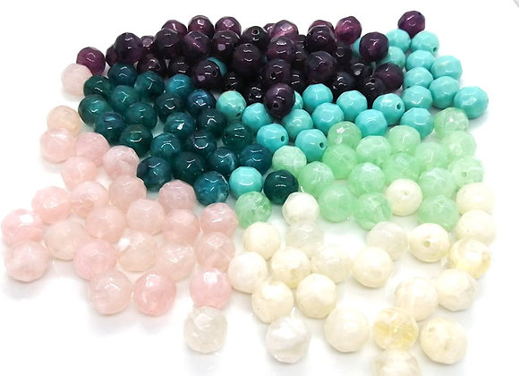 11mm Soft Colour Faceted Beads Pack of 10 - Choice of Colours