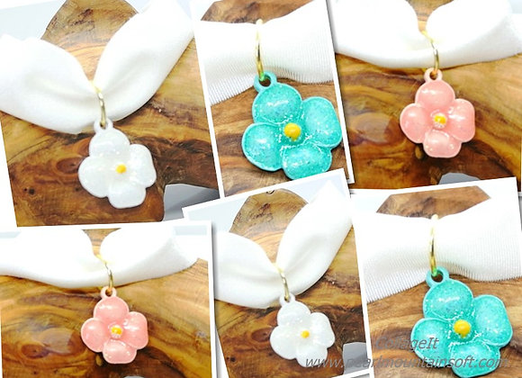 Sparkle Flower Enamel Charm 20mm - Choice of Colours