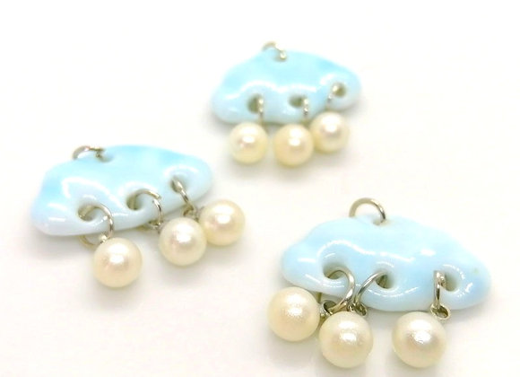 Ceramic Cloud & Pearl Drop Charm