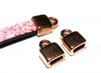 Rose Gold Flat Cord End 5mm Hole - Pack of 2
