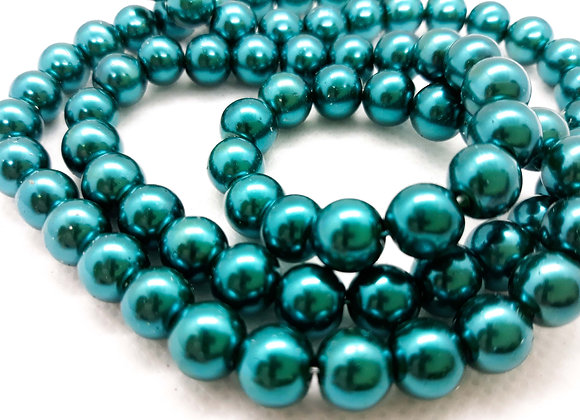 Glass Pearl Beads 8mm Dark Turquoise - Pack of 50