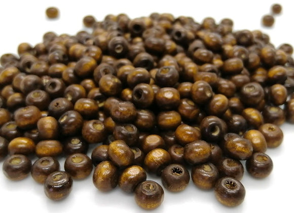 Little Wooden Rondelle Beads Brown 6mm