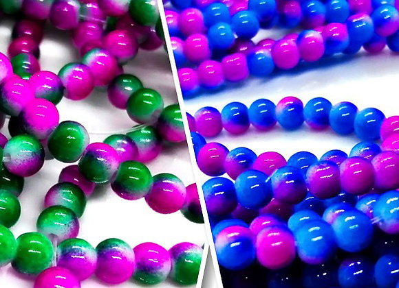 Spray Painted Glass Round Bead 4mm - Choice of Colours