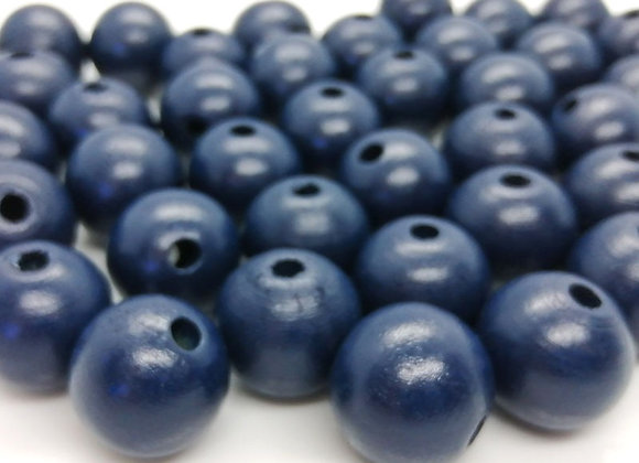 Navy Blue Round Wood Bead 18mm