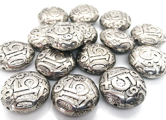 CCB Patterned Disc Bead 22mm - Antique Silver