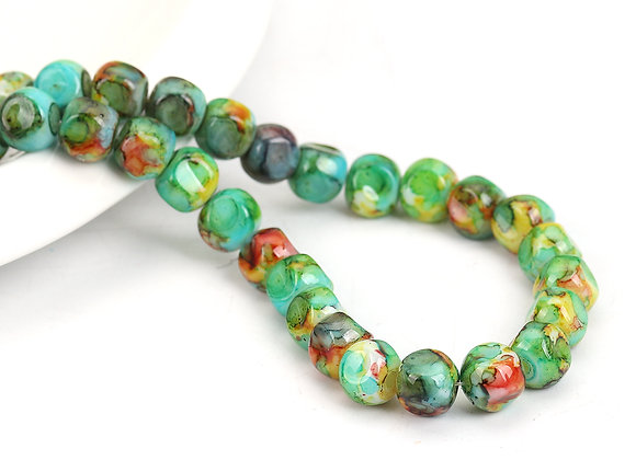Glass Faceted Round Bead 8mm - Multicolour