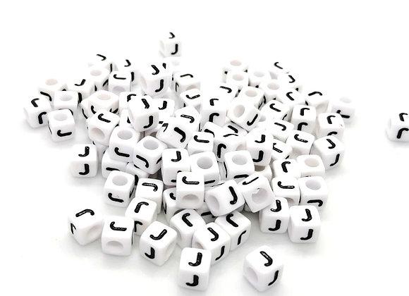 Acrylic Cube Letter J Pony Bead