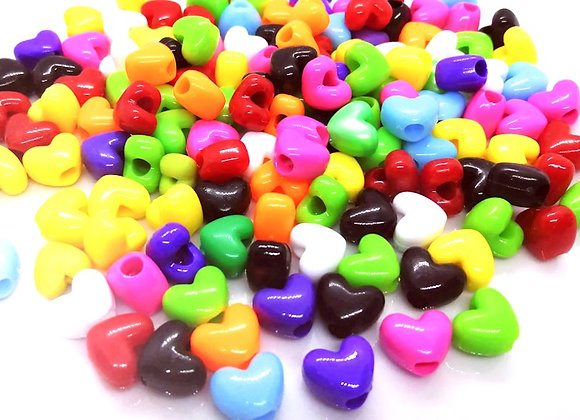 Opaque Heart Bead Large Hole Pack of 25