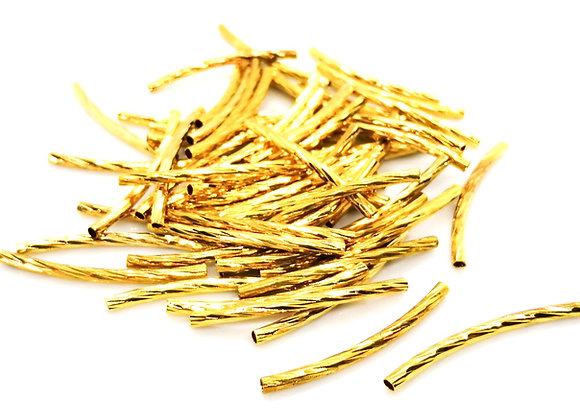 Metal Curved Textured Noodle Tube Bead 30mm - Bright Gold