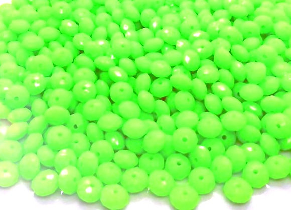 Opaque Faceted Abacus Bead 8mm - Lime Green