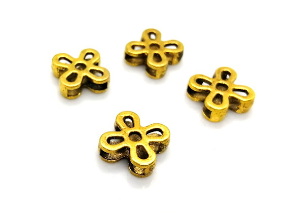 Tibetan Style Metal Flower Slider Bead Gold - 10mm Hole