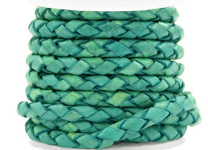 Designer Quality Round Braided Leather 4mm - Antique Turquoise Green
