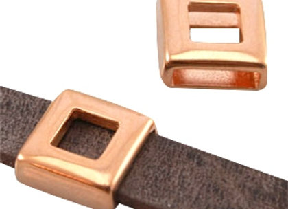 Square Rose Gold Slider Bead - 10mm Hole