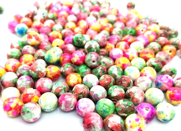 Colourful Floral Ceramic Beads 8mm - Multicoloured - Pack of 20