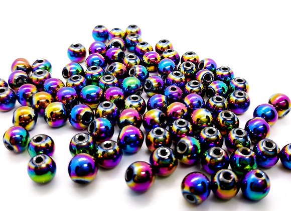 Metal Multi Shine Bead 6mm Pack of 10