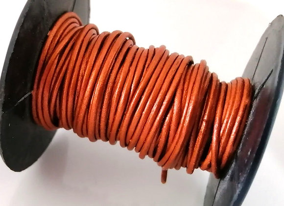 Metallic Copper Indian Leather Cord 1mm
