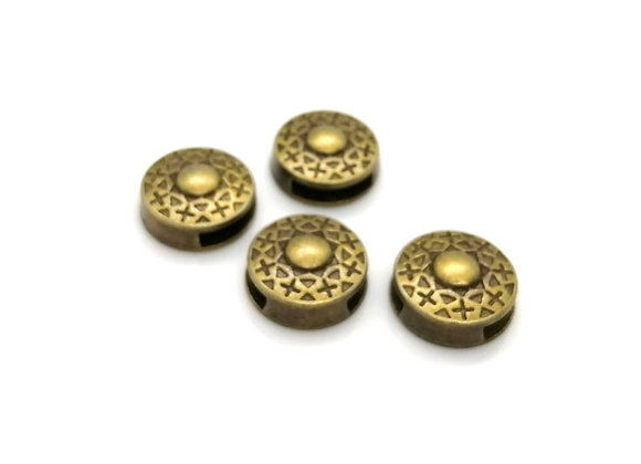 Tibetan Style Metal Round Patterned Slider Bead Antique Copper