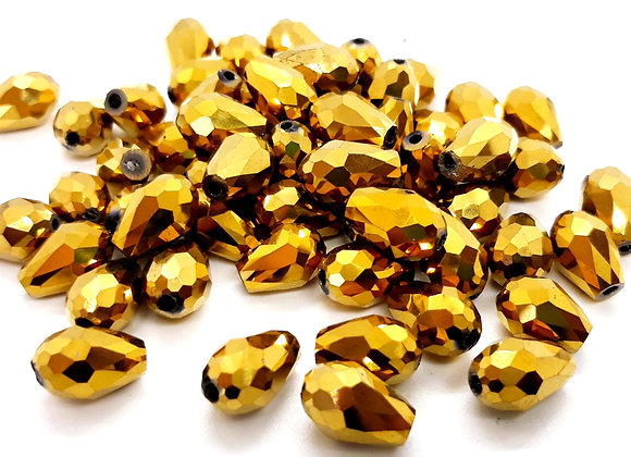 Electroplate Faceted Glass Teardrop Bead - Gold 12mm Pack of 10
