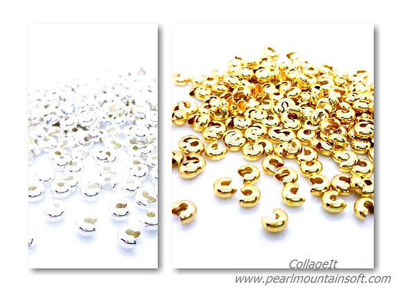 Crimp Bead Covers 4mm - Pack of 50 Gold or Silver