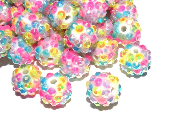 Unicorn Resin Rhinestone Disco Ball Shamballa Bead Pack of 10