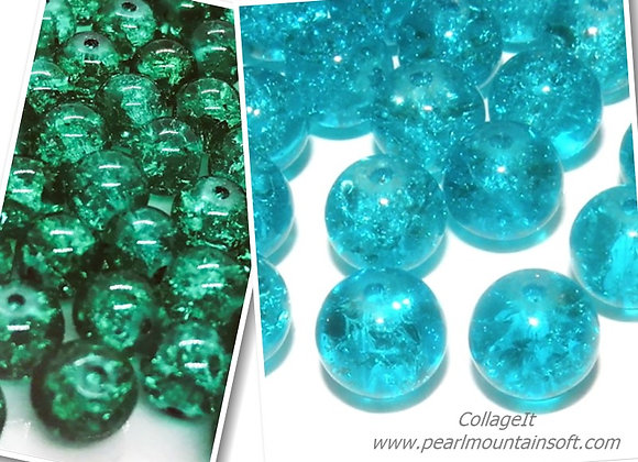Crackle Glass Round Bead 8mm - Turquoise or Green