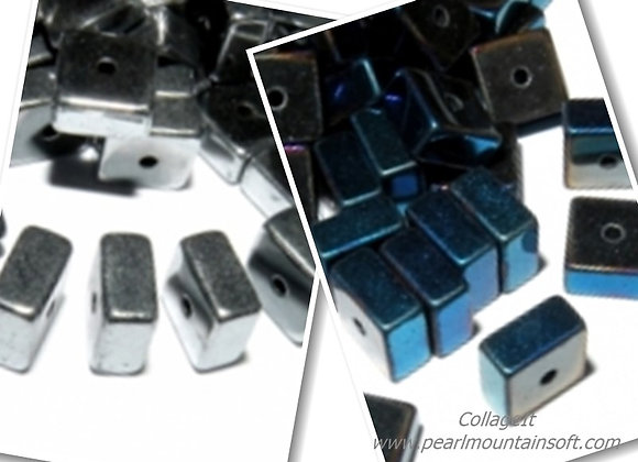 Hematite Square Bead 6mm - Blue or Platinum