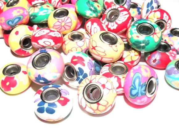 European Style Large Hole Polymer Clay Beads 11x15mm - Choice of Colours