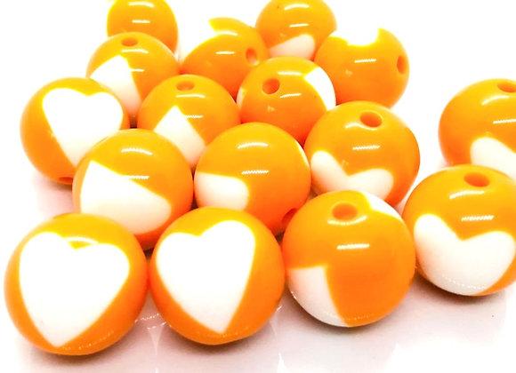 Large Heart Print Bead 20mm - Orange/White