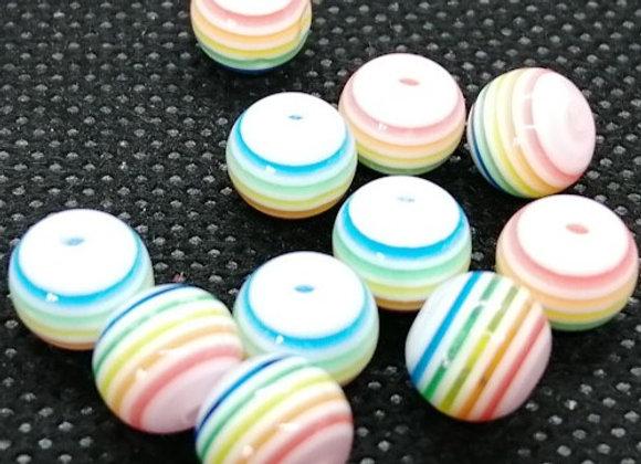 Round Rainbow Resin Beads - 8mm