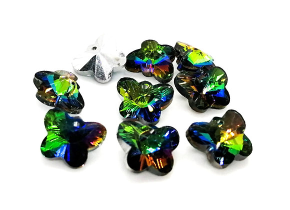 Electroplated Faceted Glass Butterfly Pendant/Charm