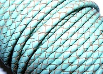 Hollow Braided 4mm Bolo leather - Soft Turquoise