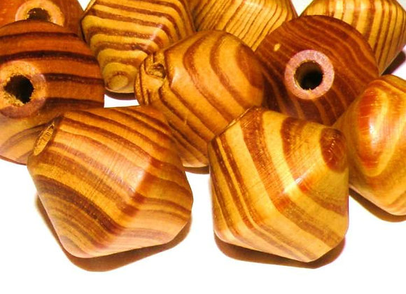 Undyed Wood Beads Bicone 16x15mm