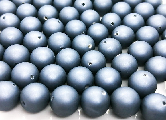 Round Glass Bead Matt Metallic Blue Grey 14mm Pack of 10