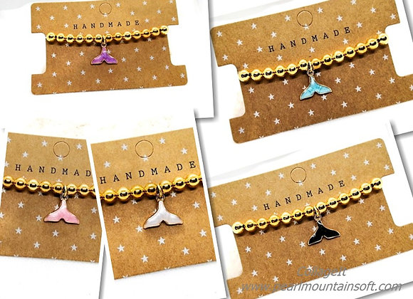 Heavy Metal Gold Bead Whale Tail Charm Bracelet Kit - Choice of Colours