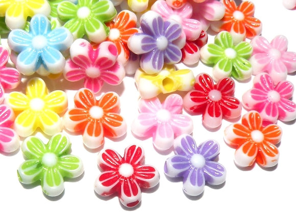 Daisy Flower Beads 10mm - Mixed Colours - Pack of 50