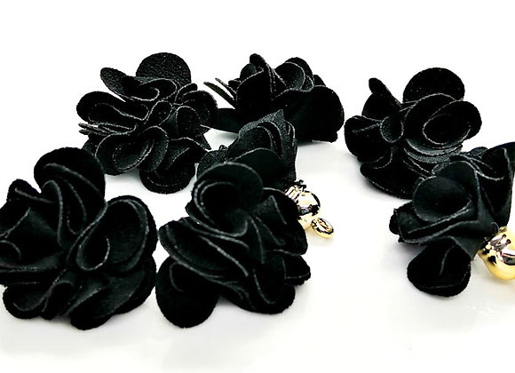Flower Tassel Pendant - Black Pack of 2