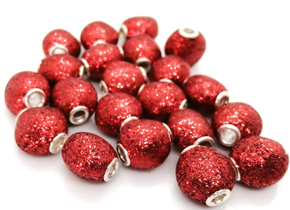 Large Hole Flat Rounded Glitter Bead - Red