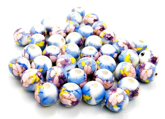 Ceramic Glazed Floral Round Bead 10mm