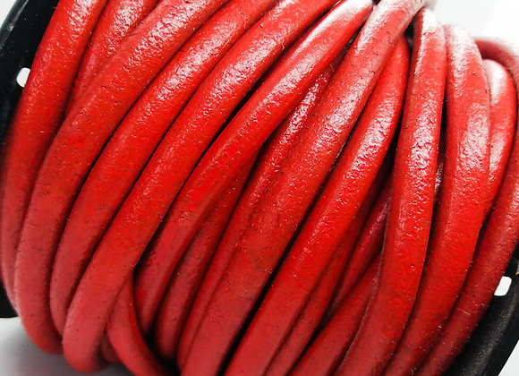 Round Leather - Mid Red 6mm