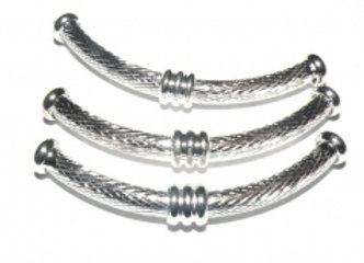 Large patterned silver noodle tube bead