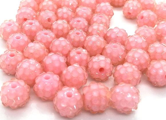Pale Pink Resin Rhinestone Disco Ball Shamballa Bead 10mm