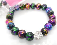 Glass & Crystal Elasticated Bracelet