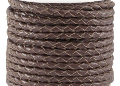 Designer Quality Round Braided Leather 3mm - Chocolate Brown