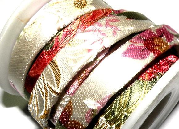 Flat Fabric Cord 10mm - Satin Floral Print