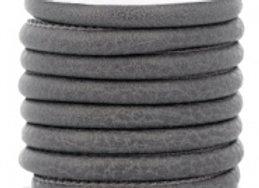 Stitched Faux Leather 6x4mm Dark Graphite Grey