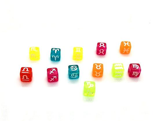 Zodiac Sign Bright Cube Bead - Capricorn - 7mm Choice of Colours