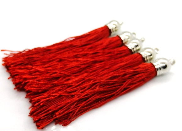 Large Polyester Tassel - Red & Silver