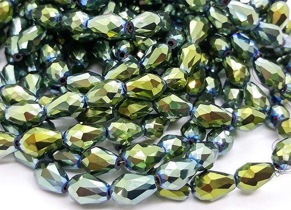 Electroplate Faceted Glass Teardrop Bead - Green 12mm Pack of 10