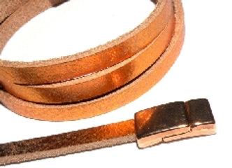 Metallic Rose Gold Flat Leather 5mm