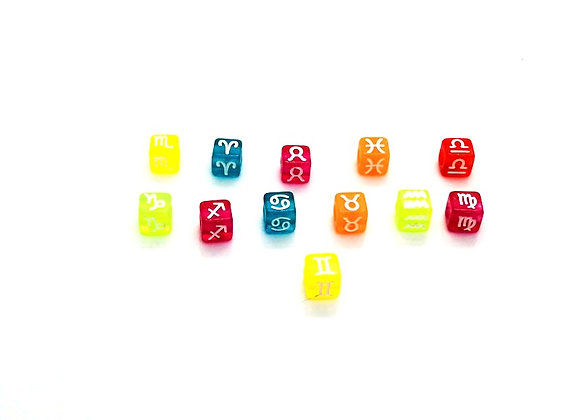 Zodiac Sign Bright Cube Bead - Gemini - Colour Choice